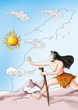 Kuafu running after the sun. In ancient china, there was a fairy tale called kuafu running after the sun.  his ears hanging snakes, cane in hand,  bare-chested Royalty Free Stock Images