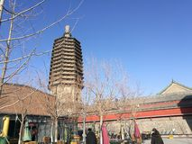 Ancient Chinese ancient tower of Liao Dynasty。 royalty free stock photography
