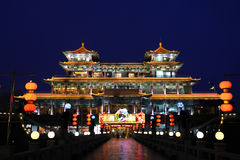 Ancient Chinese Architecture. A Ancient Chinese building at night Royalty Free Stock Photos