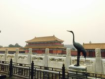 Ancient Chinese architecture and bronze carving stock photography