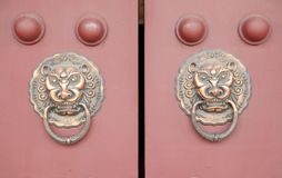 Ancient Chinese architecture copper door knocker. ,Symbol propitious and majesty royalty free stock photos