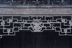 Ancient Chinese architecture eaves beautiful woodcut geometric pattern