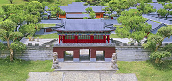 Ancient chinese architecture miniature landscape Royalty Free Stock Photo