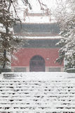 Ancient chinese architecture in winter. Ancient chinese architecture on a snowy day.The Zhaoling (or Northern Mausoleum) is the cemetery of Huangtaiji and his Royalty Free Stock Photos