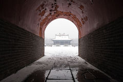 Ancient chinese architecture in winter. Ancient chinese architecture on a snowy day.The Zhaoling (or Northern Mausoleum) is the cemetery of Huangtaiji and his Stock Image