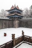 Ancient chinese architecture in winter. Ancient chinese architecture on a snowy day.The Zhaoling (or Northern Mausoleum) is the cemetery of Huangtaiji and his Royalty Free Stock Photography