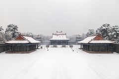 Ancient chinese architecture in winter Royalty Free Stock Photography