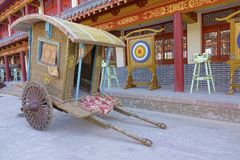 Ancient Chinese big carriage. The close-up of wooden ancient Chinese big carriage Royalty Free Stock Image
