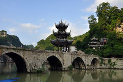 Ancient chinese bridge Royalty Free Stock Photos