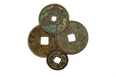 Ancient Chinese bronze coins on white background Royalty Free Stock Images