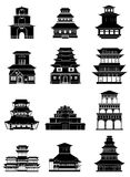 Ancient chinese buildings icons set Royalty Free Stock Photos