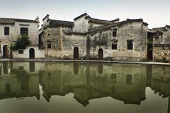Ancient chinese buildings reflected on water Royalty Free Stock Photo