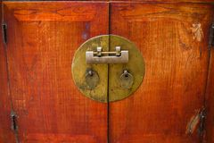 The ancient Chinese cabinet lock. At the museumn Stock Image