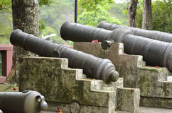 Ancient Chinese cannon. In the ancient city wall royalty free stock image