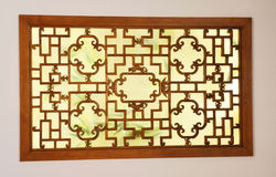 Ancient Chinese carved windows. In show Stock Photo