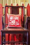 Ancient Chinese chair with cushion Royalty Free Stock Image