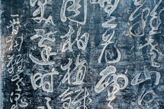 Ancient Chinese Characters carved in a stone Royalty Free Stock Images