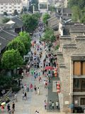 Ancient Chinese Commercial Pedestrian Street (Viewed from Above). An aerial view of a Chinese pedestrian street with traditional ancient style buildings royalty free stock image
