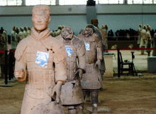 The ancient Chinese cultural relics of the Terra Cotta Warriors. Qin shihuang terracotta warriors is the world's largest underground military museum. Pit layout Stock Image