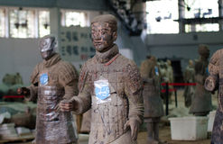 The ancient Chinese cultural relics of the Terra Cotta Warriors. Qin shihuang terracotta warriors is the world's largest underground military museum. Pit layout Royalty Free Stock Images
