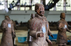 The ancient Chinese cultural relics of the Terra Cotta Warriors. Qin shihuang terracotta warriors is the world's largest underground military museum. Pit layout Stock Photos