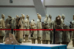 The ancient Chinese cultural relics of the Terra Cotta Warriors. Qin shihuang terracotta warriors is the world's largest underground military museum. Pit layout royalty free stock photos