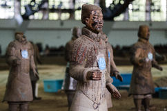 The ancient Chinese cultural relics of the Terra Cotta Warriors. Qin shihuang terracotta warriors is the world's largest underground military museum. Pit layout royalty free stock photo