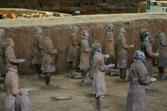 The ancient Chinese cultural relics of the Terra Cotta Warriors. Qin shihuang terracotta warriors is the world's largest underground military museum. Pit layout Stock Photo