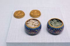 Ancient Chinese enamel go box stock images