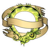 Ancient chinese exotic green dragon illustration with paper ribbon Royalty Free Stock Images