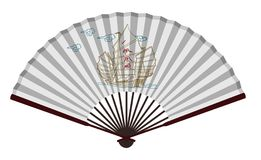 Ancient Chinese Fan With Sailing Boat vector illustration