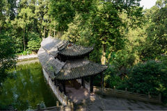 Ancient Chinese gallery over water in summer woods Stock Photography