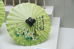 Ancient Chinese green umbrella Royalty Free Stock Image