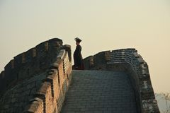 Ancient Chinese imperial official on the great wall. 