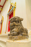 The ancient chinese lion stone carving Stock Photography
