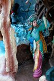An ancient chinese maiden statue at Haw Par Villa in Singapore Stock Photo