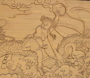 Which zha make to the sea. Ancient Chinese myths and legends, brave young rebel powerful story Stock Photos