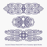 Ancient Chinese Pattern of Curve Geometry Spiral Border Stock Photos