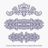 Ancient Chinese Pattern of Curve Spiral Outline Border Royalty Free Stock Photo