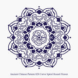 Ancient Chinese Pattern of Curve Spiral Round Flower Stock Images