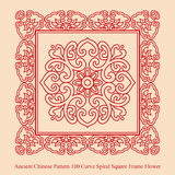 Ancient Chinese Pattern_100 Curve Spiral Square Frame Flower Royalty Free Stock Photos