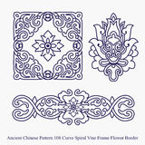 Ancient Chinese Pattern of Curve Spiral Vine Frame Flower Border Stock Photography