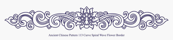 Ancient Chinese Pattern of Curve Spiral Wave Flower Border Royalty Free Stock Photography