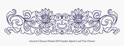 Ancient Chinese Pattern of Garden Spiral Leaf Vine Flower. Can be used for both print and web page Royalty Free Stock Photo