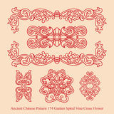 Ancient Chinese Pattern of Garden Spiral Vine Cross Flower. Ancient Chinese pattern can be used for wallpaper, web page background, surface textures Stock Images