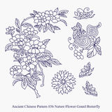 Ancient Chinese Pattern of Nature Flower Gourd Butterfly Stock Photography