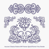 Ancient Chinese Pattern of Nature Spiral Flower Vine Border Stock Photography