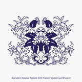 Ancient Chinese Pattern of Nature Spiral Leaf Flower Stock Photos