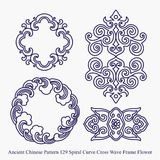 Ancient Chinese Pattern of Spiral Curve Cross Wave Frame Flower Stock Images