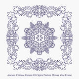 Ancient Chinese Pattern of Spiral Nature Flower Vine Frame Royalty Free Stock Photo